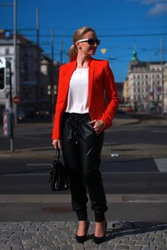 Your Outfit Today » Leather joggers with red blazer, May 15 2014