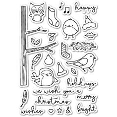 Memory Box Clear Stamps YULETIDE BIRDIES POPPY STAMPS CL414