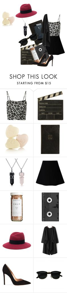 """little black mouse"" by hania7 ❤ liked on Polyvore featuring moda, NOIR Sachin + Babi, Ballard Designs, Smythson, Bling Jewelry, RED Valentino, CB2, Luckies, Maison Michel y Gianvito Rossi"