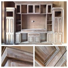 DIY Restoration Hardware look using Minwax 'weathered oak' stain on a pine built-in and glazing it with Sherwin Williams 'accessible beige'