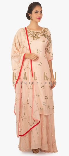 518a4fa397 Salmon peach cotton palazzo set matched with a chiffon dupatta only on Kalki