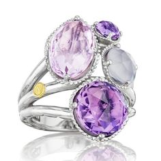 Tacori ~ Lilac Blossoms White Chalcedony, Rose & Purple Amethyst Cluster Ring
