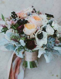 Anemone + garden rose bouquet