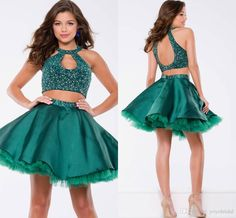 Fashion Green Cocktail Dresses Short A Line Unique Neck Designer Backless Rhinestones Cheap Prom Evening…