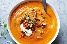 Moroccan sweet potato soup with spiced chickpeas