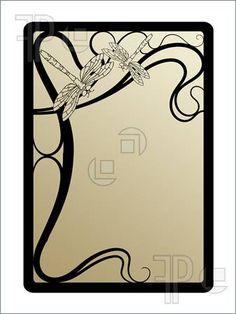 Art Deco Clip Art Free   Illustration of art nouveau frame with dragonflies