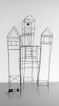 Photo Gallery :: Marinel Vieleers - New Ideas Sculptures Céramiques, Sculpture Art, Coraline, Art Fil, Architectural Sculpture, Building Art, Monochrom, Miniature Houses, Wire Art