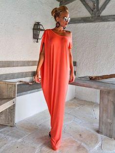 Maxi Kleid Koralle / Koralle Kaftan / Assymetrischer Plus Size Kleid / Übergröße lose Kleid / #35085
