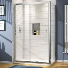 1200x760mm - 6mm - Elements Sliding Door Shower Enclosure