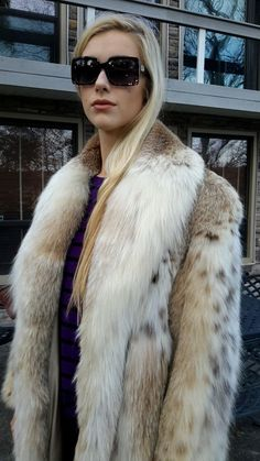 Womens Natural Montana Lynx Fur Belly Only Full Length Coat Sz M Sz L $28 000 | eBay
