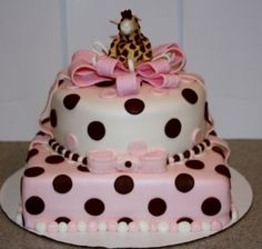 Pink & Brown Baby Shower Cake By WhimsyCakes on CakeCentral.com