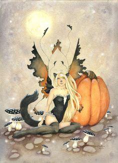 Wow !! - Fairy Art Print 5x7 Black Cat Fairy halloween by FaeryDustArt, $10.00