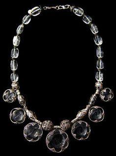 Viking silver and rock crystal necklace from Gotland, Sweden.