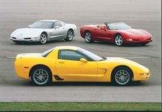 The hardtop Corvette (foreground) realized its performance potential   in 2001 as Chevrolet transformed it into the Z06 with a new LS6 V-8.