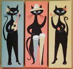 El Gato Gomez: my new favorite artist! Mid Century Modern Art, Mid Century Art, Black Cat Art, Black Cats, Vintage Cat, Cat Drawing, Retro Art, Crazy Cats, Cool Cats
