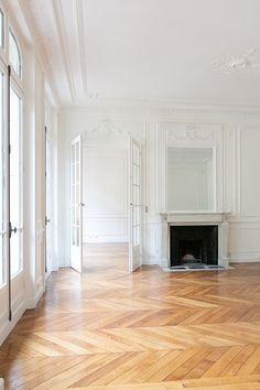 Restored Paris Apartment   A+B Kasha, buy apartment in Saint Germain des Pres   white walls and wood floors