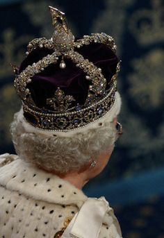 Back view of diamonds and jewels as Queen Elizabeth II wears the Imperial State Crown at the House of Lords for the State Opening of Parliament in Love this picture for Queen Elizabeth II. Royal Crowns, Royal Tiaras, Tiaras And Crowns, Imperial State Crown, British Crown Jewels, Elisabeth Ii, Royal Queen, Isabel Ii, Her Majesty The Queen