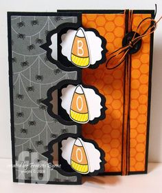 Boo! created by Frances Byrne using THe Stamps of Life's Candycorn2cut and Sizzix Triple Fancy Frame Flip-its Framelits