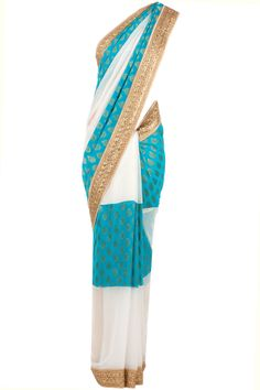 Turquoise and white panel sari by MANDIRA BEDI. Shop now at perniaspopupshop.com
