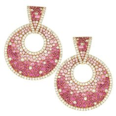Pave Pink Sapphire and Diamond Earrings in Gold | From a unique collection of vintage dangle earrings at https://www.1stdibs.com/jewelry/earrings/dangle-earrings/