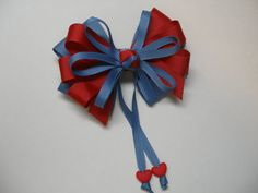 Chambray Blue Red Hair Bow Sweetheart HEART School UNIFORM Boutique Streamers Tails Toddler Girl Grosgrain Handmade