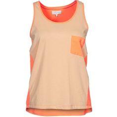 Zalando Collection Top featuring polyvore women's fashion clothing tops shirts tank tops hauts women's tops orange orange tank beige top beige shirt shirt top orange top