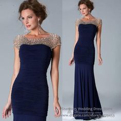 Unique Navy Blue Mermaid Mother of Bride Dresses Cap Sleeve Crystals Pleated Chiffon Evening Gowns 2016 Mother Of The Bride Dresses Long, Mother Of Bride Outfits, Mothers Dresses, Long Mothers Dress, Evening Party Gowns, Evening Dresses, Summer Dresses, Women's Dresses, Bridesmaid Dresses