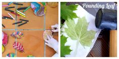Nature Art for Kids - Painted Leaves and Pounded Leaves