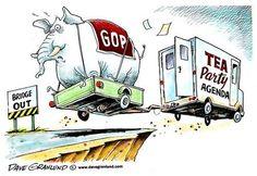 Dave Granlund on the GOP and tea party agenda. Election Cartoons, Trump Cartoons, Political Cartoons, Funny Cartoons, Morning Joe, Mood, Dumb And Dumber, Tea Party, Donald Trump