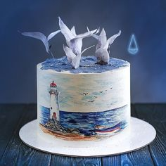 """We have collection of stunningly beautiful cake decorating to help inspire your baking passions and delight to the guest of honor. Take a look at the gallery board """"Cake Designs"""" Pretty Cakes, Beautiful Cakes, Stunningly Beautiful, Marine Cake, Nature Cake, Pool Cake, Nautical Cake, Sea Cakes, Decorated Cookies"""