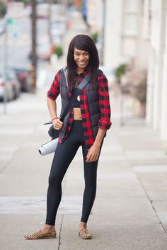 S.F.'s Workout Uniform Looks Like THIS #refinery29  http://www.refinery29.com/san-francisco-workout-style#slide-28   Nkechi Njaka's outfit works for the gym and beyond. She's wearing a Lululemon top, pants, and vest, BDG flannel, and Loeffler Randall shoes. ...