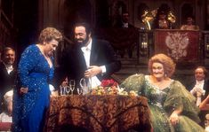 Marilyn Horne, Luciano Pavarotti and Dame Joan Sutherland share the stage during the Party Scene of Die Fledermaus, Dame Joan's Farewell Gala, Covent Garden, New Years Eve 1990.