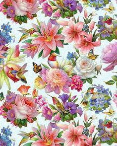Tela Algodón FQ Elefante Rosa Oscuro Gris Artesanales Flores Floral Nubes de agua blanca
