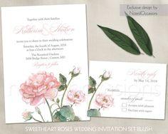 Rose Wedding Invitation Set Suite Printable Rustic Wedding Roses Blush Pink…