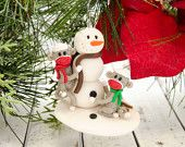 Melted Snowman Ornament, Polymer Clay Ornament by Creative Contours. $8.00, via Etsy.