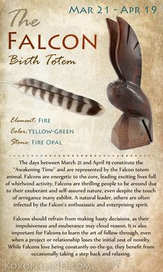 If you're born between March 21 and April 19, you're of the Falcon Native American Birth Totem! Those of this totem are natural leaders and live a life of excitement and activity.