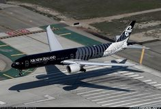 """Air to air with the Air NZ """"All Blacks"""" 777W over the keys at LAX. Rainer Bexten."""