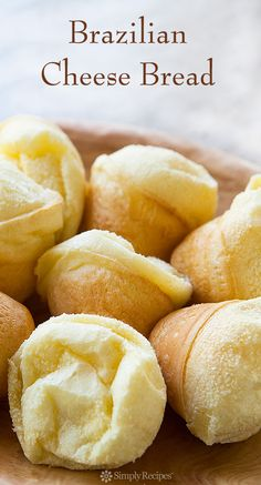 Simple and gluten-free Brazilian cheese bread, or Pão de Queijo, made with tapioca flour, milk, eggs, olive oil, and cheese. On SimplyRecipes.com