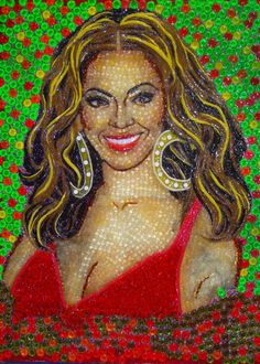 Beyonce, 40 by 32 inches, now on display in the lobby of the Ripley's Believe It or Not! Odditorium in Orlando.  Commissioned by Ripley's and created by Mexico City artist Christiam Ramos, the son of Enrique Ramos who previously has done several pieces for Ripley's. These portraits are 100% candy, and include Gummy Bears, licorice, Fruit by the Foot, M's, after dinner mints and candy hearts.
