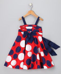Take a look at this Red & Navy Polka Dot Dress - Toddler & Girls by Bonny Billy on #zulily today!