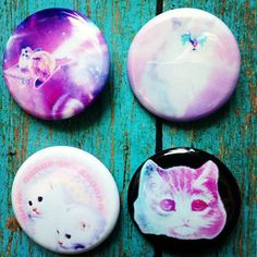"""1.25"""" Pastel Goth Kawaii Set Of 4 Cat Pinback Buttons Soft Grunge and... ($5) ❤ liked on Polyvore featuring pins and pastel goth"""