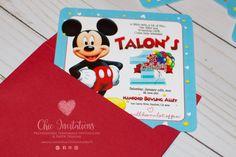 Mickey Invitation Birthday Kids Light Blue by ChicInvitationsByCA