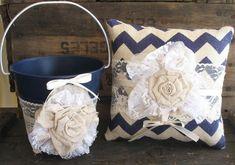 Flower Girl Basket Ring Bearer Pillow Shabby Chic Wedding Rustic Wedding Navy Blue Chevron Linen and Lace on Etsy, $60.00