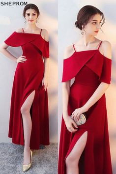 On sale, Burgundy Long Red Formal Dress Side Slit with Flounce at SheProm. is an online store with thousands of dresses, range [. Long Red Evening Dress, Wedding Evening Gown, Evening Dresses, Dress Wedding, Trendy Dresses, Nice Dresses, Fashion Dresses, Formal Dresses, Long Dresses