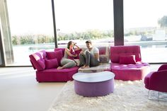 Modern style Arianne Love sectional by Fama. Classic piece of contemporary furniture and design. Modern Sectional, Sectional Sofas, Interiors Magazine, Large Sofa, Contemporary Furniture, Floor Chair, Bean Bag Chair, Room, Montreal