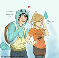 Percy Jackson/Pokemon Crossover, Percy dressed as Squirtle, Percy Jackson, Annabeth Chase, Percy and Annabeth Percy Jackson Fandom, Memes Percy Jackson, Arte Percy Jackson, Dibujos Percy Jackson, Percy Jackson Head Canon, Percy Jackson Ships, Percy Jackson Characters, Percy Jackson Books, Percabeth
