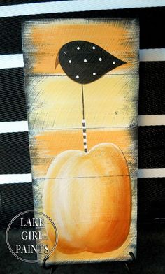 How to Paint a Crow and Pumpkin Sign - Time to get the orange and black paint out! Simple shapes and rustic style make fun fall wall art or door hanging. Autumn Painting, Autumn Art, Tole Painting, Fall Paintings, Painting Pumpkins, Primitive Painting, Acrylic Paintings, Autumn Crafts, Holiday Crafts