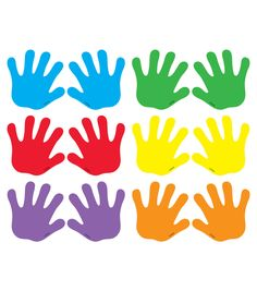 Handprints Mini Accents Variety Pack, 36 Per Pack, 6 Packs Graphing Activities, Learning Activities, Class Rules Poster, Cubby Tags, Classroom Tree, Yellow Words, Patriotic Symbols, Creating Games, Creative Teaching Press