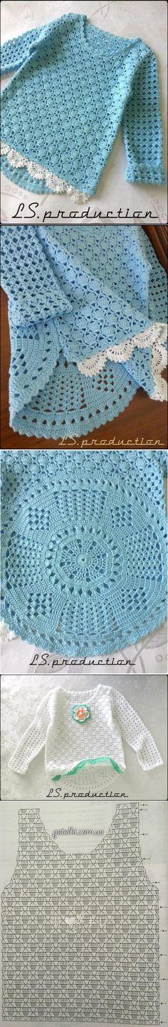 La blusa interesante la muchacha (la Labor de punto por el gancho) — la Revista la Inspiración de la Laborera // Катерина