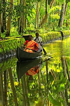 Rowing through God's Own Country - Kerala backwaters. #kerala #india #kamalan
